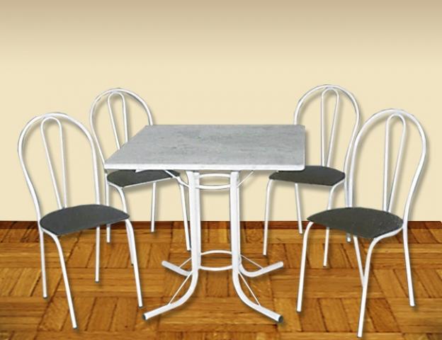 Mesa Aviz Renascence Quadrada 4 Cadeiras Tampo de Granito