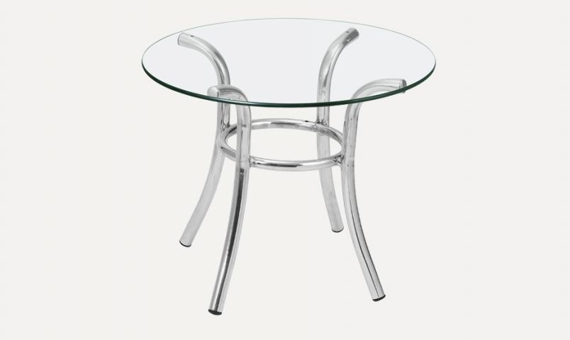 Mesa de centro MC119 em alumínio com tampo de vidro Alegro Móveis