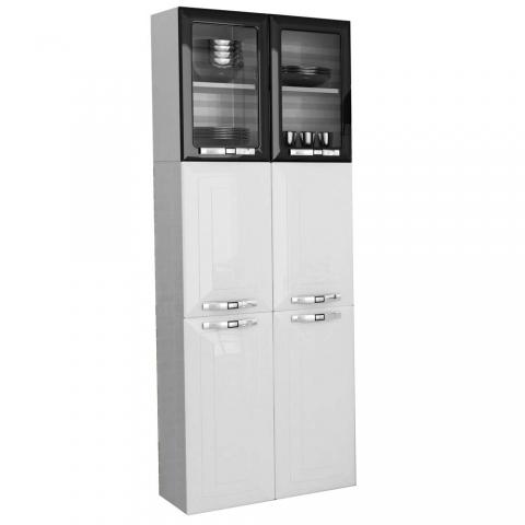 Paneleiro Colormaq Class Slim P6PV com 6 Portas com Vidro Branco/Preto