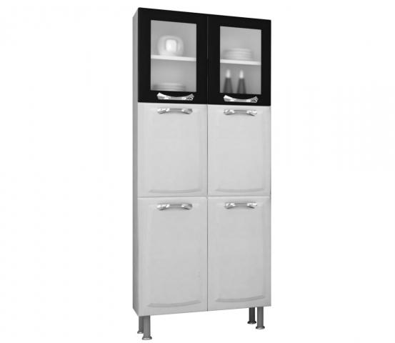 Paneleiro Itatiaia Premium IPLDV-80 6 Portas, 2 com vidro Branco/Preto