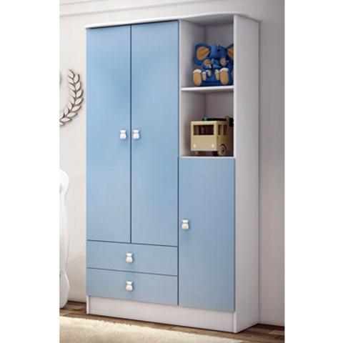 Roupeiro Infantil Percasa 1410 3 Portas 2 Gavetas Ninar Azul
