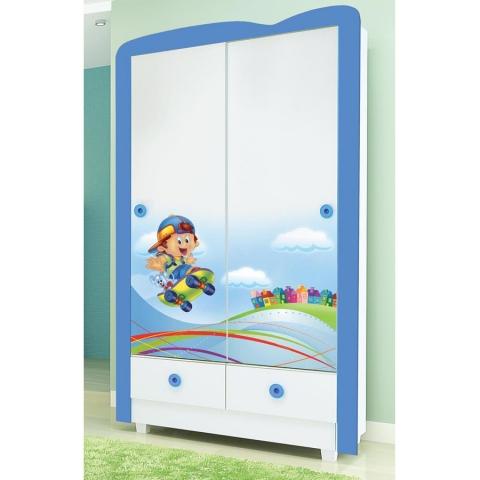 Roupeiro Infantil Tuboarte Skate Azul com duas portas de correr 100% MDF