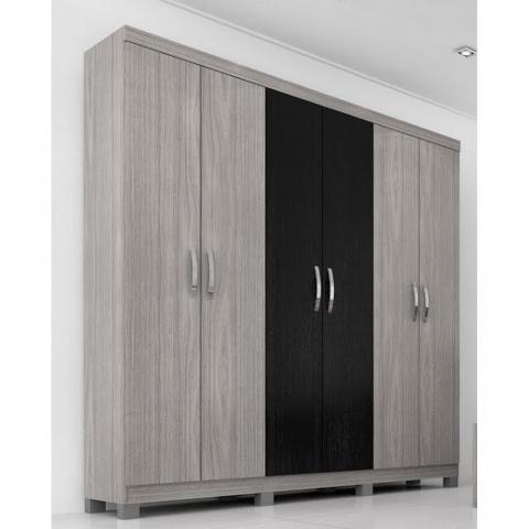 Roupeiro Panan Uni Premium 6 Portas Gris/Black