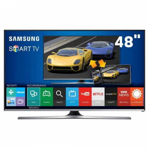 Smart TV LED 48 Full HD Samsung 48J5500 com Connect Share Movie, Screen Mirroring, Função Festa, Wi-Fi, Entradas HDMI e USB