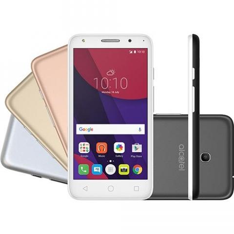 Smartphone Alcatel PIXI4  Metallic Dual Chip Android 6.0 Tela 5 8GB + 16GB cartão SD, 4G Câmera 8MP Selfie 5MP Flash Frontal , 4 Capas Metálicas Prata
