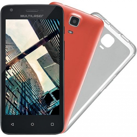 Smartphone Multilaser MS45 Dual Chip Android 5.1 Tela 4.5 8GB Wi-Fi 3G Câmera 5MP Preto