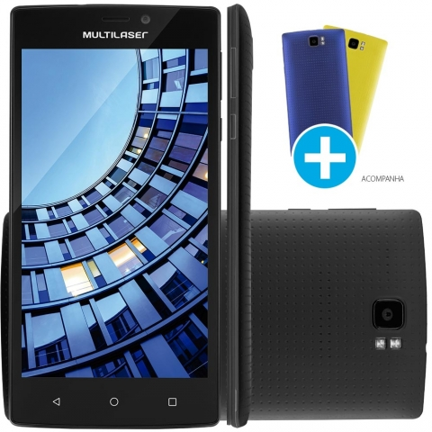 Smartphone Multilaser MS60, Quad Core, Android, Tela 5,5 , 16GB, 13MP, 4G Desbloqueado Preto