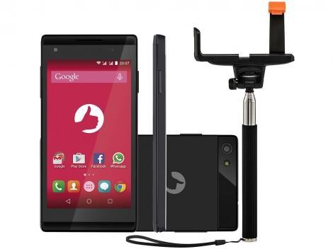 Smartphone Positivo Preto S455 8GB Dual Chip 3G, Câmera 5MP com Bastão de Selfie