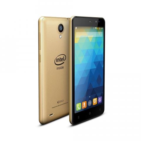 Smartphone Qbex X-Gold S007 INTEL Desbloqueado Android 4.4 Tela 5 16GB 3G Wi-Fi Câmera 8MP Dourado