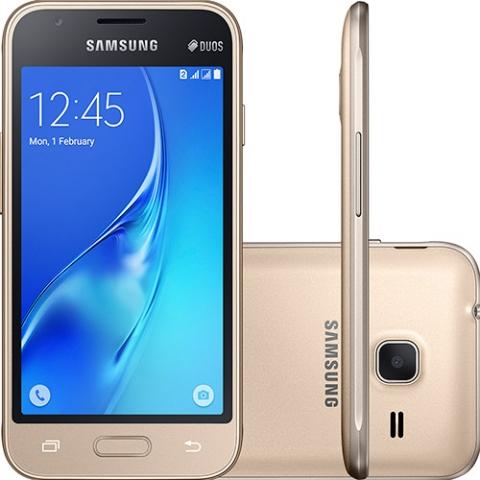 Smartphone Samsung Galaxy J1 J120 Dourado Dual Chip Android 5.1 Lollipop 3G Wi-fi Processador Quad Core 1.2 Ghz