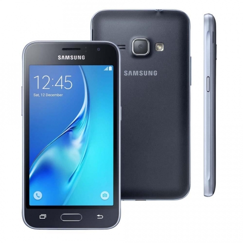 Smartphone Samsung Galaxy J1 J120 Preto Dual Chip Android 5.1 Lollipop 3G Wi-fi Processador Quad Core 1.2 Ghz