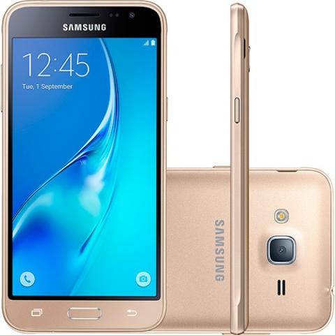 Smartphone Samsung Galaxy J3 Dual Chip Desbloqueado Android 5.1 Tela 5, 8GB, 4G, Wi-Fi, Câmera 8MP - Dourado