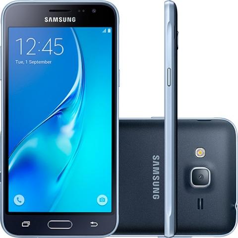 Smartphone Samsung Galaxy J3 Dual Chip Desbloqueado Android 5.1 Tela 5 8GB 4G Wi-Fi Câmera 8MP Preto