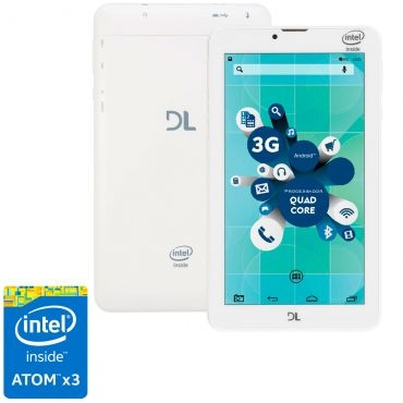 Tablet DL SocialPhone TX316BRA Tela 7, Intel Atom X3 Quad Core, 8GB, 1GB RAM, Android 5, WiFi,3G,Câmera frontal,Bluetooth Branco