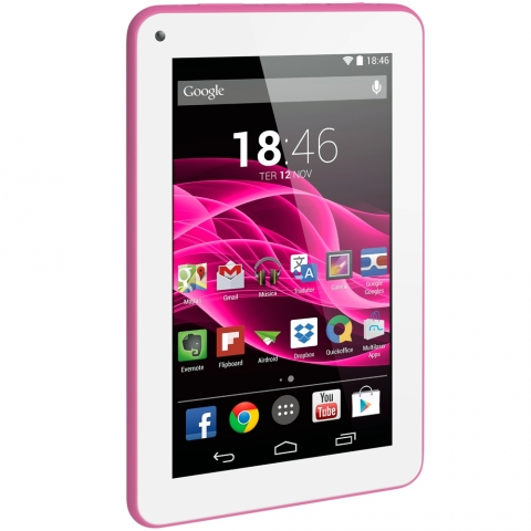 Tablet Multilaser M7s - Tela 7, Android 4.4, Quad Core 1.2GHz, Câmera, 8GB, 3G , Wi-Fi - NB186 Rosa
