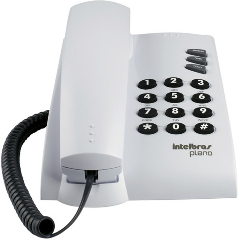 Telefone c/ Fio Intelbras PLENO Cinza Ártico c/ Funções Flash e Redial