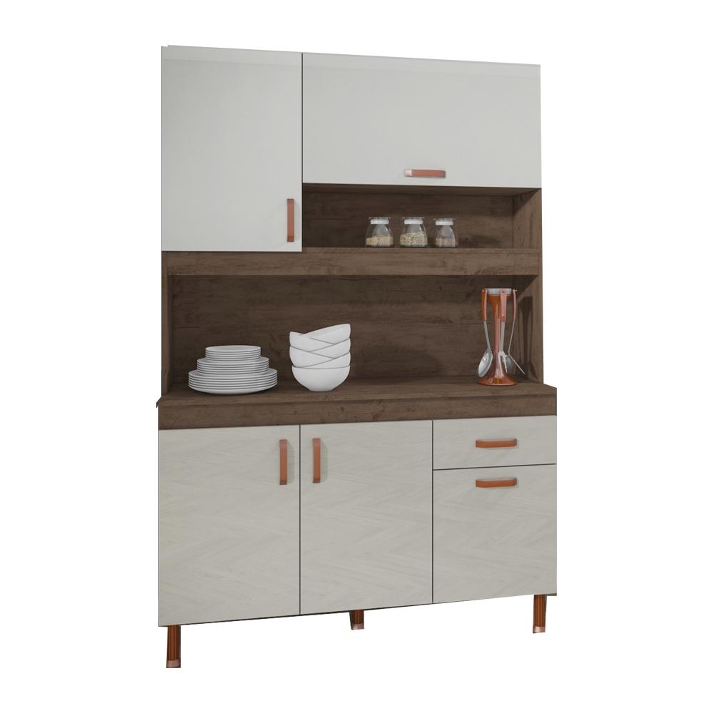 Kit Cozinha Indekes Star com 5 Portas e 1 Gaveta Noce/Off White