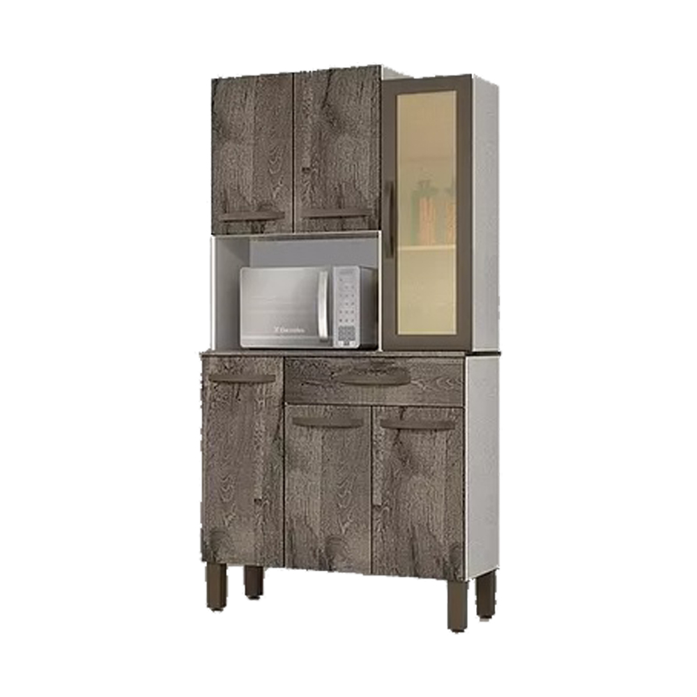 Kit Cozinha Josan Evolution com 6 Portas e 1 Gaveta Amêndoa/Off White