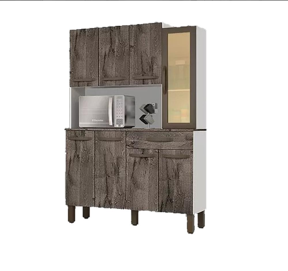 Kit Cozinha Josan Evolution com 8 Portas e 1 Gaveta Amêndoa/Off White