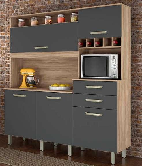 Kit Cozinha Nesher Smart 5 Portas 2 Gavetas Cedro/Grafite