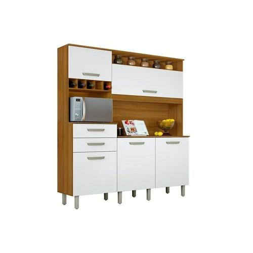 Kit Cozinha Nesher Smart 5 Portas 2 Gavetas Freijó/Branco
