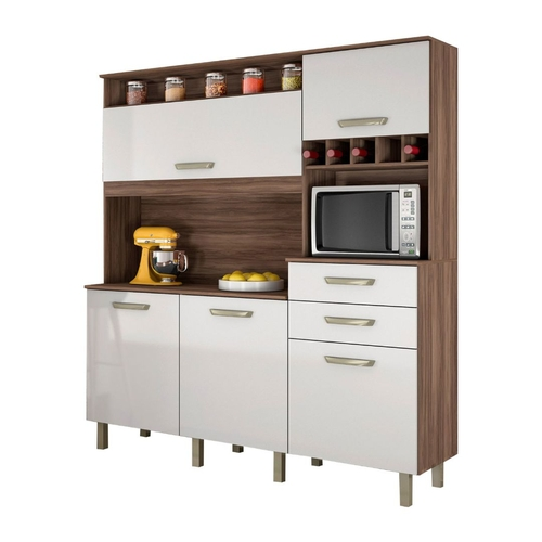 Kit Cozinha Nesher Smart 5 Portas 2 Gavetas Nogal/Branco