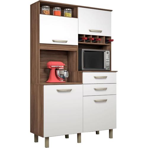 Kit de Cozinha Nesher Junior 4 Portas 2 Gavetas Nogal/Branco