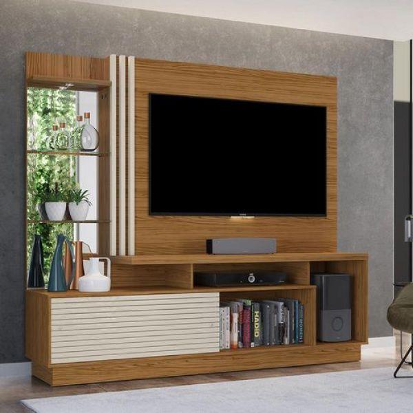 Estante Home Theater para TV até 60 Madetec Frizz Plus Naturale/Off White