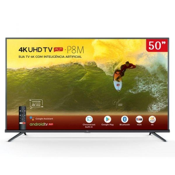 Android TV LED 50 TCL P8M 4K UHD HDR Bluetooth Controle Remoto com Comando de Voz
