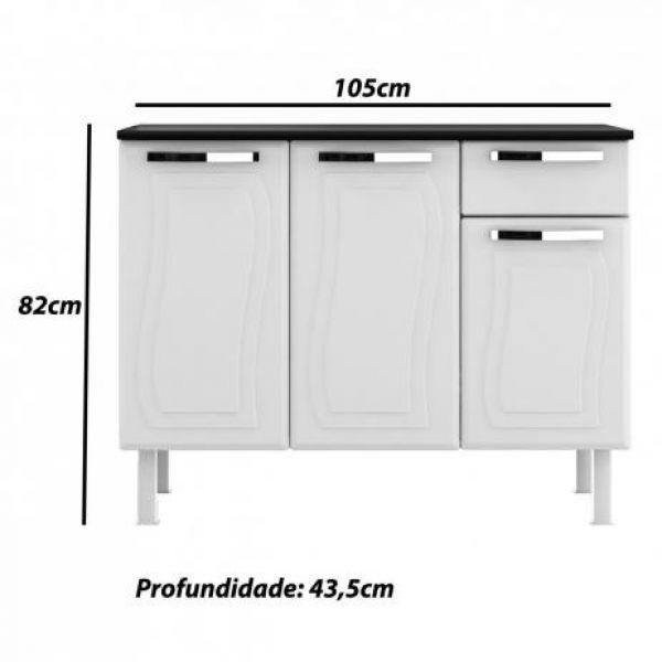 Balcão de Cozinha Aço com Tampo 3 Portas 1 Gaveta Paraty Glass Colormaq Branco