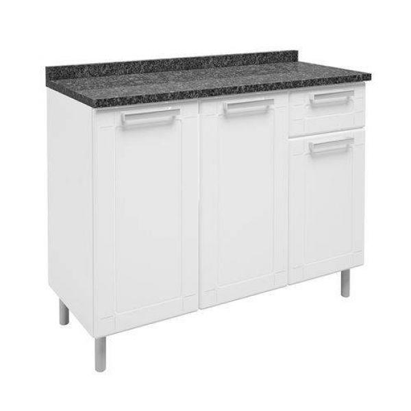 Balcão de Cozinha com Tampo 3 Portas 1 Gaveta Múltipla Bertolini Branco