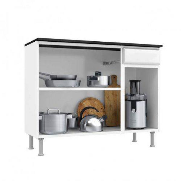 Balcão de Cozinha com Tampo 3 Portas 1 Gaveta Novitá Smart Telasul Branco
