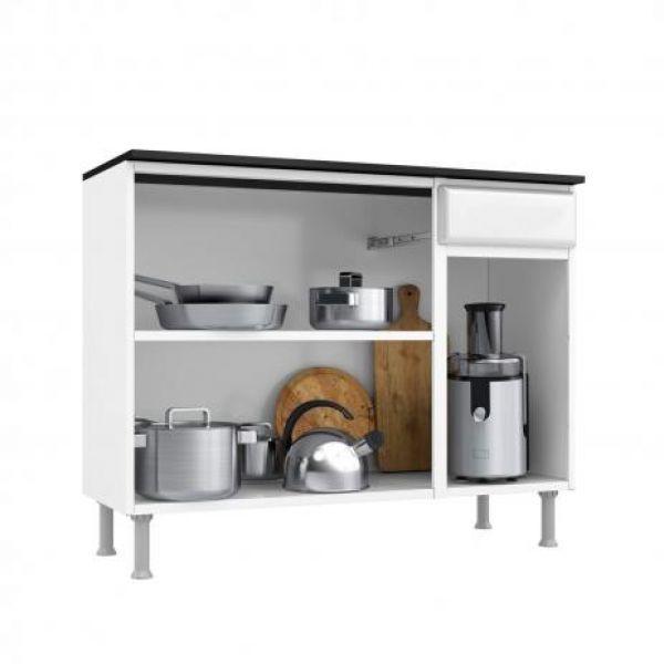 Balcão de Cozinha com Tampo 3 Portas 1 Gaveta Novitá Smart Telasul Branco/Preto