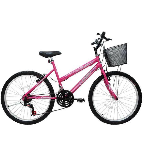 Bicicleta Aro 26 Cairu Bella MTB feminina com 18 Marchas Rosa