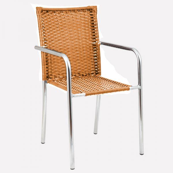 Cadeira para Jardim/Área Externa Alegro Móveis C315 Alumínio Acabamento Fibra Sintética Marfim