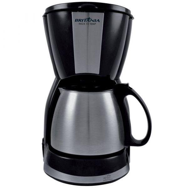 Cafeteira Britânia Capacidade 15 cafés Inox 15 Temp Preta 220v