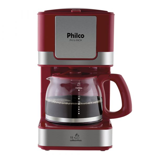 Cafeteira Elétrica Philco PH16 Inox Vermelha