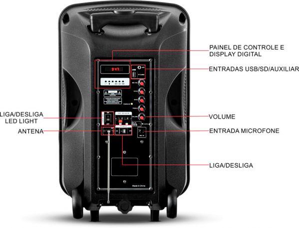Caixa de Som Amplificadora Lenoxx Áudio CA 340 280W Bluetooth Portátil USB Cartão SD