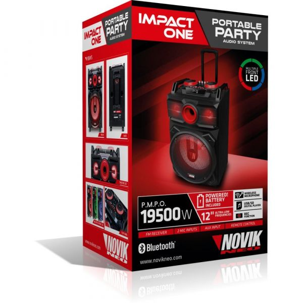 Caixa Multiuso Novik Impact One 02 Canais 1200w Rms Usb Mp3 Bluetooth