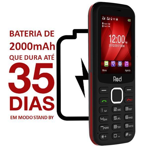 Celular Red Mobile Mega M010F Preto/Vermelho