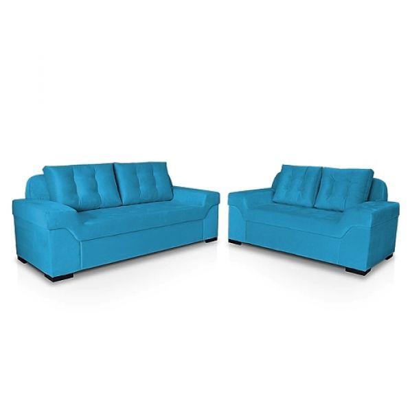 Conjunto de Estofado StarFlex Athenas dois e três lugares Azul