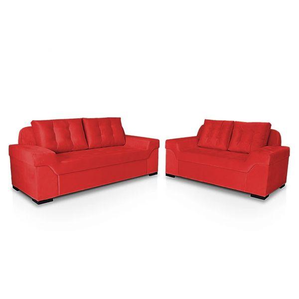 Conjunto de Estofado StarFlex Athenas dois e três lugares Vermelho