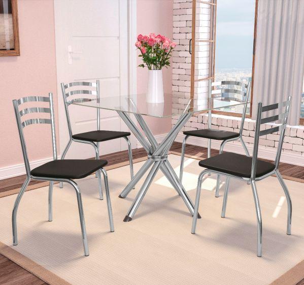 Conjunto de Mesa Kappesberg CMC 097 com 4 cadeiras e tampo de vidro quadrado