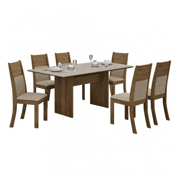 Conjunto Mesa Tampo de Vidro Off White Florença e 6 Cadeiras Havaí Leifer Ypê