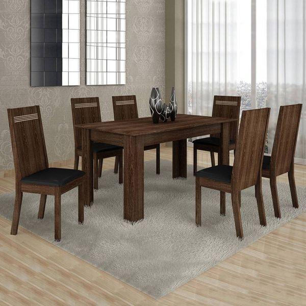 Conjunto Sala de Jantar Mesa 4 Cadeiras Ouro Preto 120cm Cel Móveis Malbec