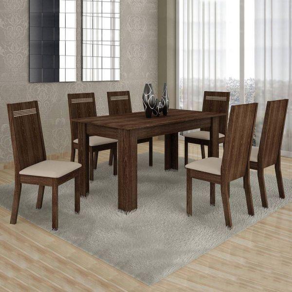 Conjunto Sala de Jantar Mesa 6 Cadeiras Ouro Preto Cel Móveis Malbec