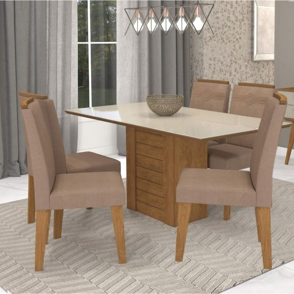 Conjunto Sala de Jantar Mesa Rafaela 6 Cadeiras Cimol Savana/ Off White