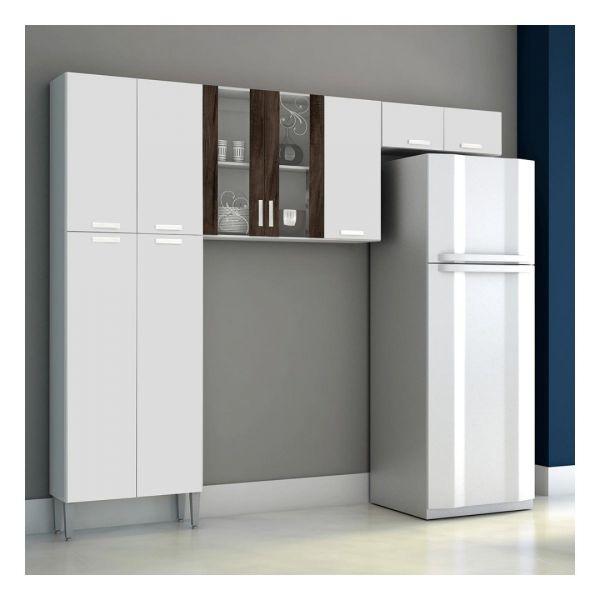 Cozinha 3 Portas Kit's Paraná Alfa Top White/Petróleo