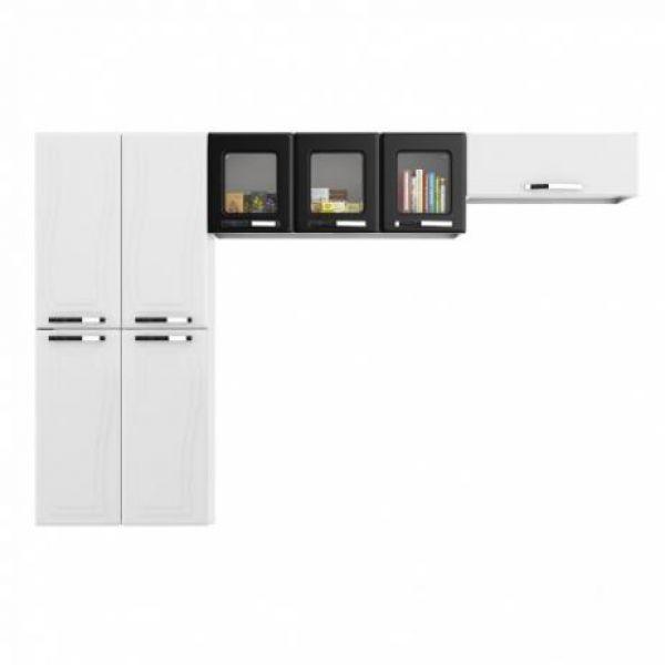 Cozinha Colormaq Paraty Glass 3 Peças em Aço Branco e Preto Paneleiro 4 Portas, Armário de Parede e Basculante