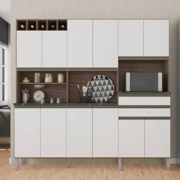 Cozinha Compacta 12 Portas 2 Gavetas Malbec Móveis Ronipa Sevilha/Branco